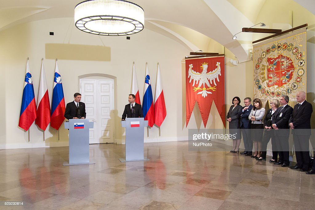 Press conference of Polish President Andrzej Duda and President of Slovenia Borut Pahor at Presidential Palace in Warsaw Poland 22 April 2016