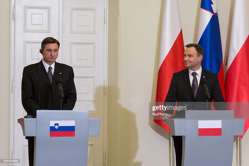 Press conference of President of Poland, <a gi-track='captionPersonalityLinkClicked' href=/galleries/search?phrase=Andrzej+Duda&family=editorial&specificpeople=4331018 ng-click='$event.stopPropagation()'>Andrzej Duda</a> (R) and President of Slovenia <a gi-track='captionPersonalityLinkClicked' href=/galleries/search?phrase=Borut+Pahor&family=editorial&specificpeople=2476171 ng-click='$event.stopPropagation()'>Borut Pahor</a> (L) at Presidential Palace in Warsaw, Poland, 22 April 2016.