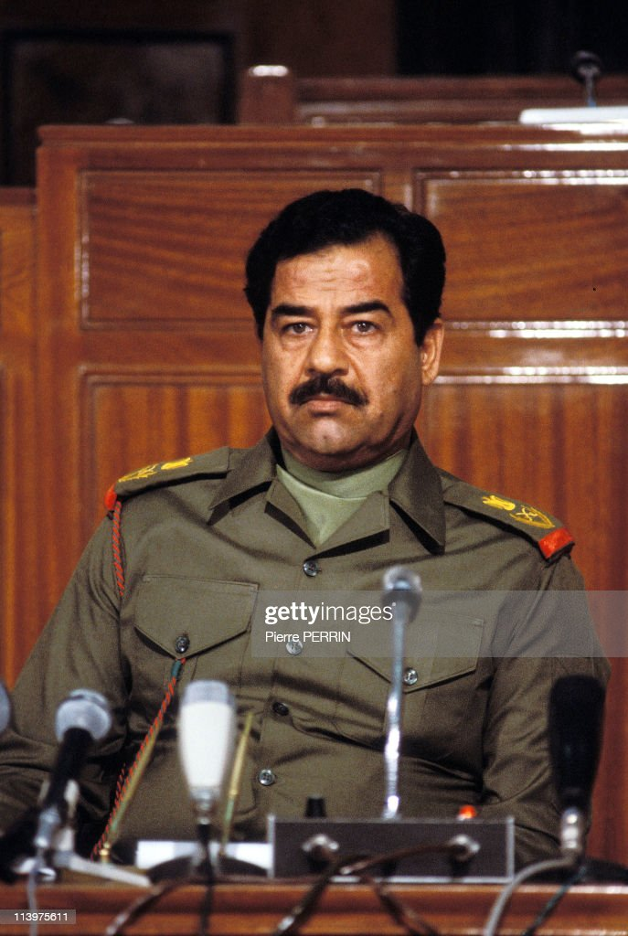 Press conference of <a gi-track='captionPersonalityLinkClicked' href=/galleries/search?phrase=Saddam+Hussein&family=editorial&specificpeople=121553 ng-click='$event.stopPropagation()'>Saddam Hussein</a> In Baghdad, Iraq On October 14, 1983.
