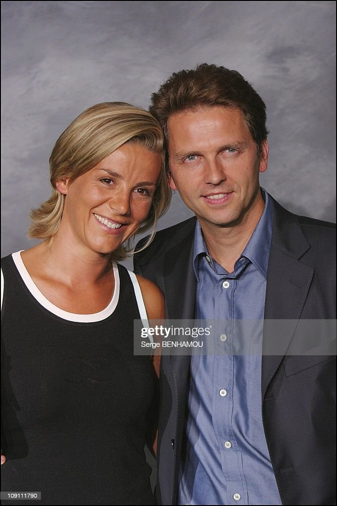 Press Conference Of Tf1 French Tv Channel On August 27 2003 In Paris France Laurence Ferrari And Thomas Hugues