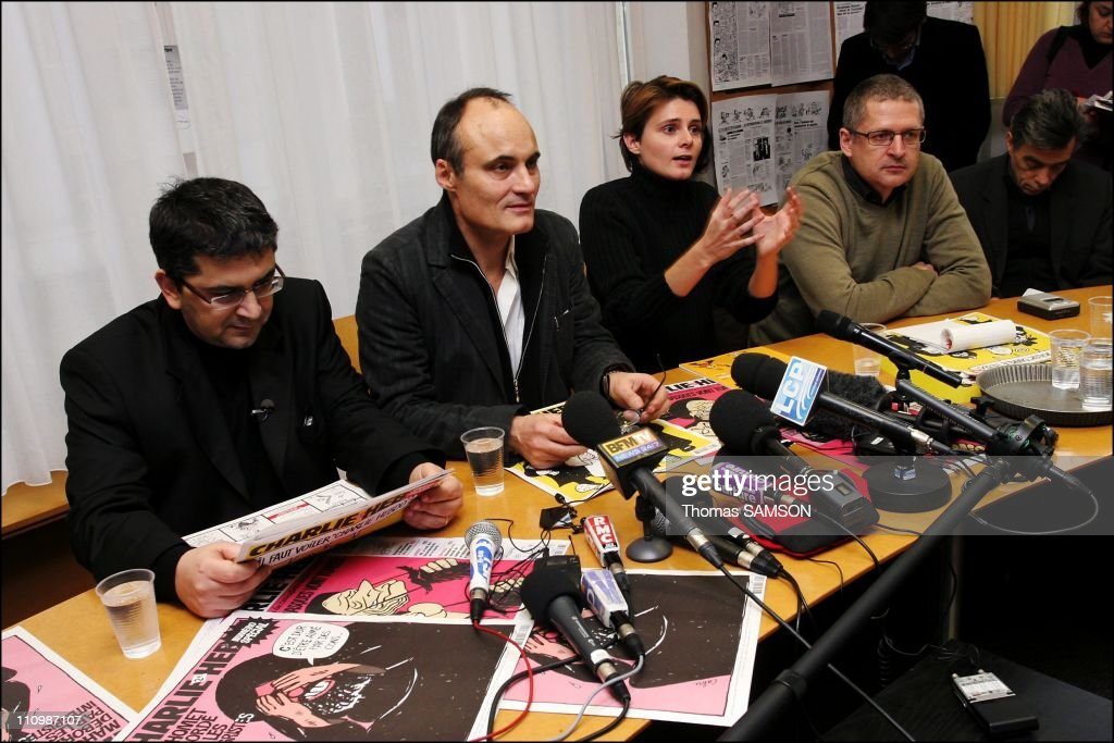 Press conference of the french weekly satiric newspaper ' Charlie Hebdo ', before its process, for having published danish caricatures of Mahomet Prophet - Algerian journalist, writer and director, Mohamed Sifaoui, Philippe Val, managing editor of 'Charlie Hebdo', Caroline Fourest, feminist Journalist to 'Charlie Hebdo', and Flemming Rose, the cultural editor of the Danish newspaper Jyllands-Posten who first published the caricatures of Mahomet Prophet in Paris, France on February 06th, 2007.