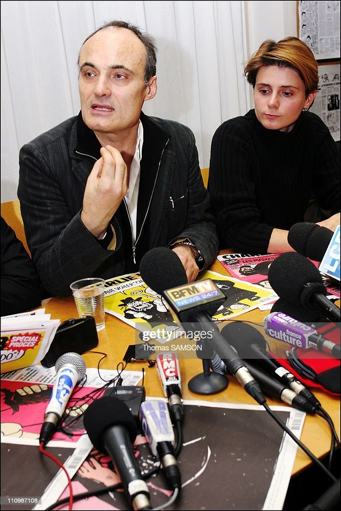 Press conference of the french weekly satiric newspaper ' Charlie Hebdo ', before its process, for having published danish caricatures of Mahomet Prophet - <a gi-track='captionPersonalityLinkClicked' href=/galleries/search?phrase=Philippe+Val&family=editorial&specificpeople=831271 ng-click='$event.stopPropagation()'>Philippe Val</a>, managing editor of 'Charlie Hebdo', and Caroline Fourest, feminist Journalist to 'Charlie Hebdo' in Paris, France on February 06th, 2007.