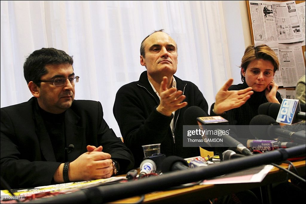 Press conference of the french weekly satiric newspaper ' Charlie Hebdo ', before its process, for having published danish caricatures of Mahomet Prophet - Algerian journalist, writer and director, Mohamed Sifaoui, <a gi-track='captionPersonalityLinkClicked' href=/galleries/search?phrase=Philippe+Val&family=editorial&specificpeople=831271 ng-click='$event.stopPropagation()'>Philippe Val</a>, managing editor of 'Charlie Hebdo', Caroline Fourest, feminist Journalist to 'Charlie Hebdo' - in Paris, France on February 06th, 2007.