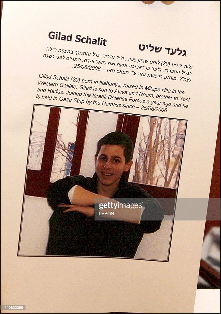 Press Conference Of The Siona Movement In The Presence Of Families Of Three Israeli Soldiers Abducted By Hezbollah And Hamas, <a gi-track='captionPersonalityLinkClicked' href=/galleries/search?phrase=Gilad+Shalit&family=editorial&specificpeople=537101 ng-click='$event.stopPropagation()'>Gilad Shalit</a>, Eldad Regev And Ehud Goldwasser In Paris, France On July 26,2006 - Gilad Schalit.