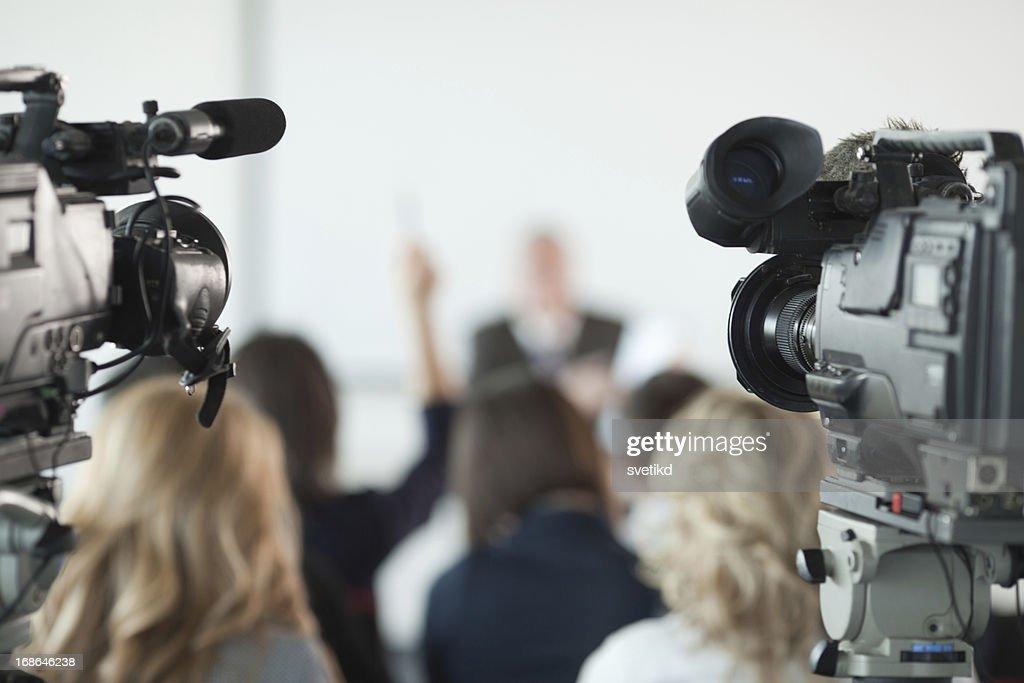 Press conference. : Stock Photo
