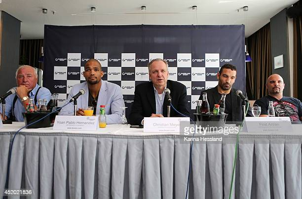 Press Conference with headcoach Ulli Wegner Yoan Pablo Hernandez Manager of Sauerland Event Christian Meyer Firat Arslan and Headcoach Dieter...