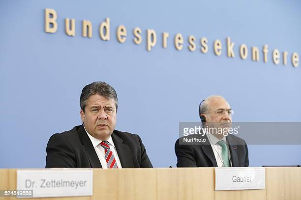 Press conference with Sigmar Gabriel Minister of Economy and Energy SecretaryGeneral of the Organisation for economic cooperation and development...