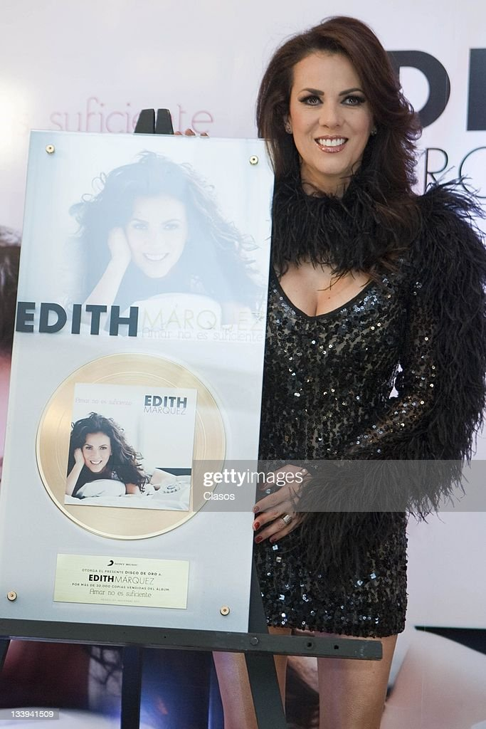 Press Conference with the singer Edith Marquez to present his new album titled Amar no es suficiente and deliver a gold record for sales in the Hotel Nikko on november 07, 2011 in Mexico City, Mexico.
