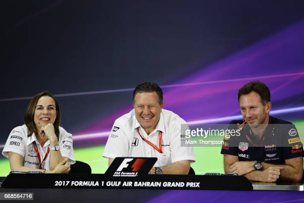 A press conference with Williams Deputy Team Principal Claire Williams McLaren Executive Director Zak Brown and Red Bull Racing Team Principal...