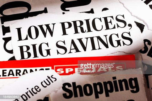 Press cuttings announcing low prices and big savings