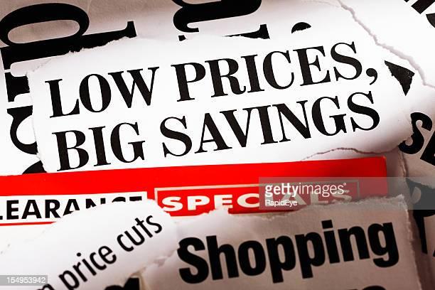 Prima conjunto de apresentação da baixa de preços e grandes poupanças