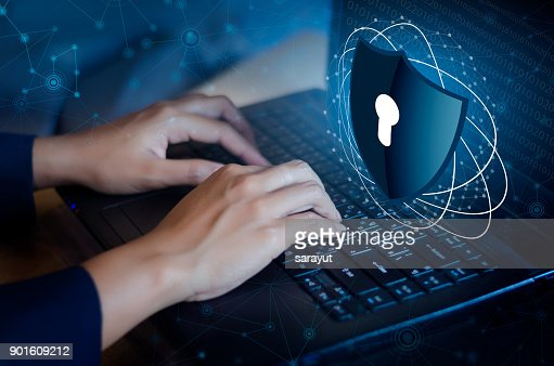 Press enter button on the keyboard computer Shield cyber Key lock security system abstract technology world digital link cyber security on hi tech Dark blue background, Enter password to log in. lock finger Keyboard : Stock Photo