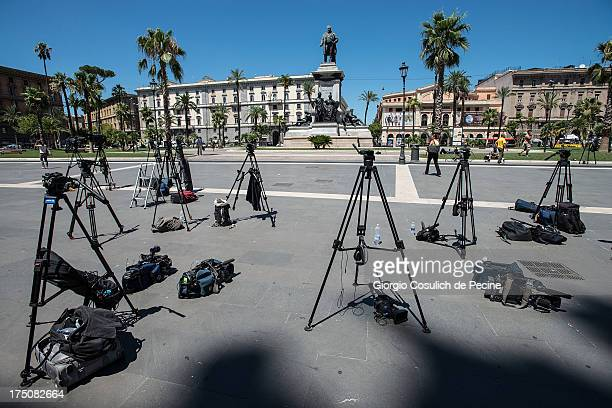 Press equipment is left in front of the 'Corte di Cassazione' or Supreme Court during the final arguments as former Italian Prime Minister Silvio...