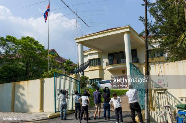 Press film outside of the North Korean embassy on March 15 2017 in Kuala Lumpur Malaysia Malaysia has used DNA sample from one of Kim JongNam's...