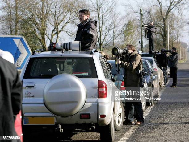 Press gather at The Mill in Gretna Green Scotland for the wedding of 'I'm a celebrity' winner Kerry Katona and Mark Croft which has been sold to OK...