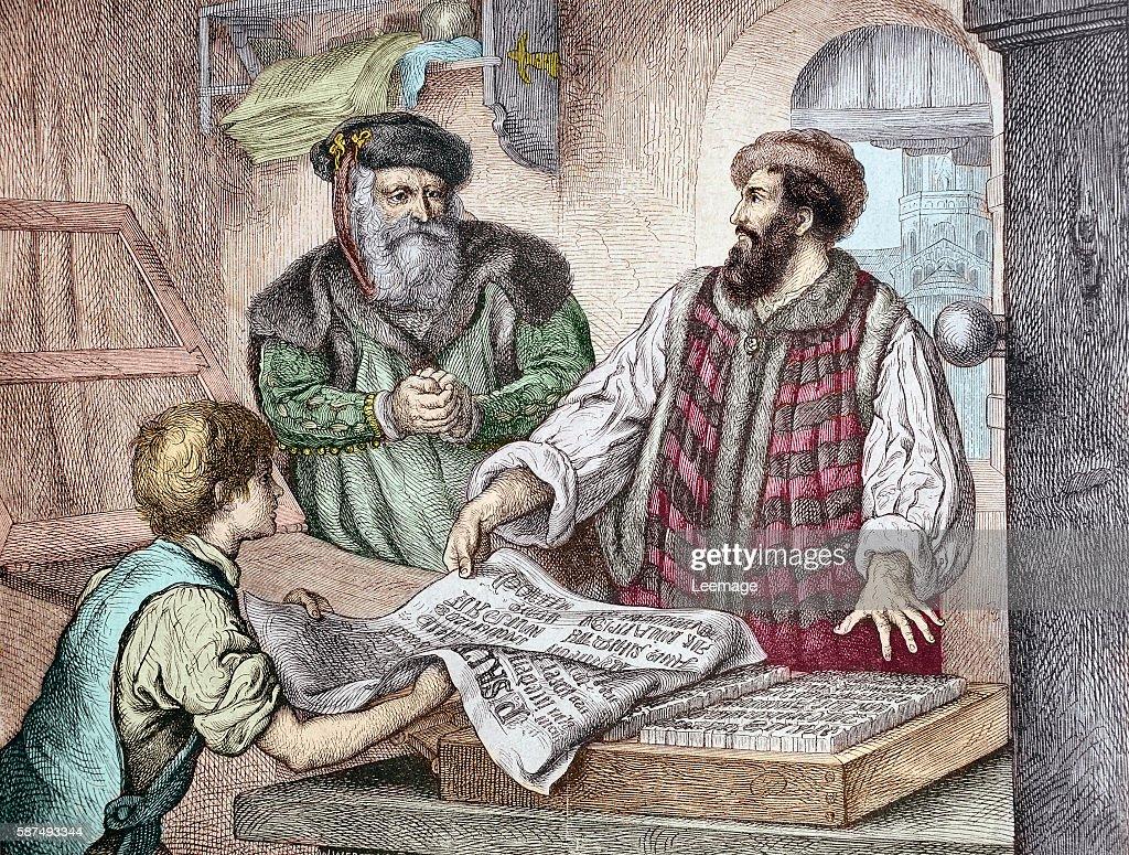 the first proof sheet from Gutenberg's press Johannes Gensfleisch Gutenberg represented with Johann Fust 1453 Handcolored woodcut of a 19th century...
