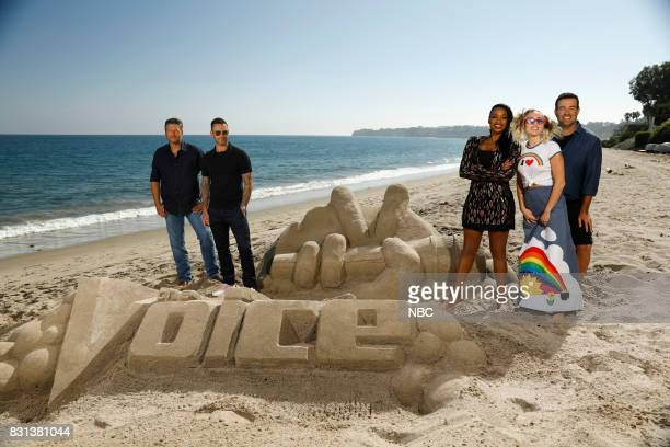 THE VOICE 'Press Junket' Coaches Blake Shelton Adam Levine Jennifer Hudson Miley Cyrus and host Carson Daly bond and enjoy a day at the beach on a...