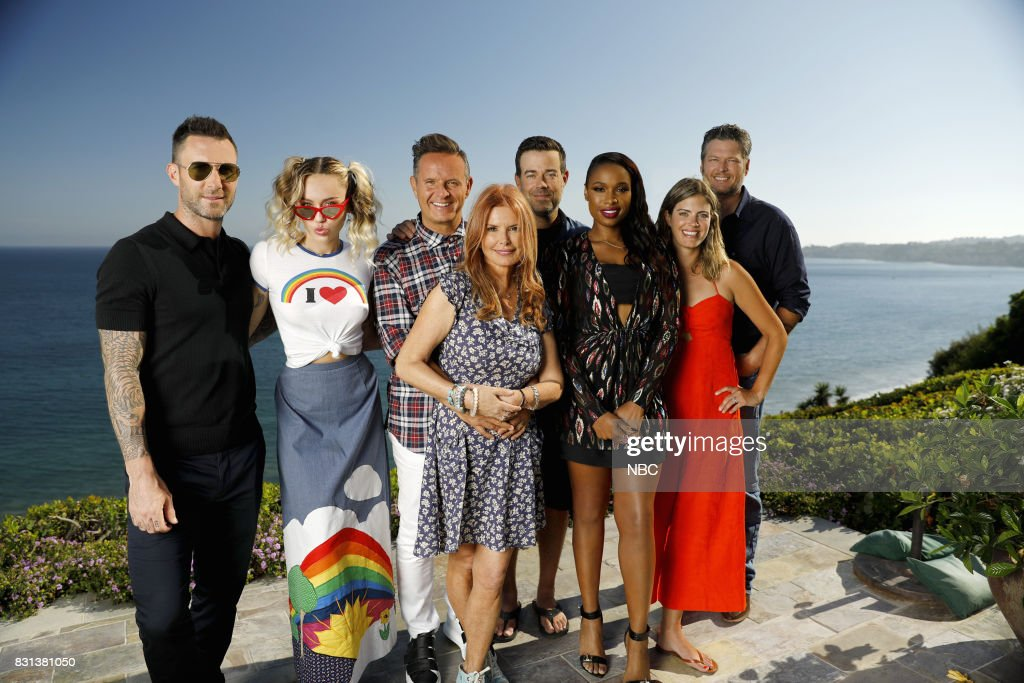 THE VOICE -- 'Press Junket' -- Team ?Voice? enjoys a picturesque Southern California prior to the two-hour premiere of season 13, which is set for Monday, Sept. 25 at 8 p.m. ET/PT. From left to right: Adam Levine, Miley Cyrus, Mark Burnett, Roma Downey, Mark Burnett, Jennifer Hudson, Siri Daly and Blake Shelton --