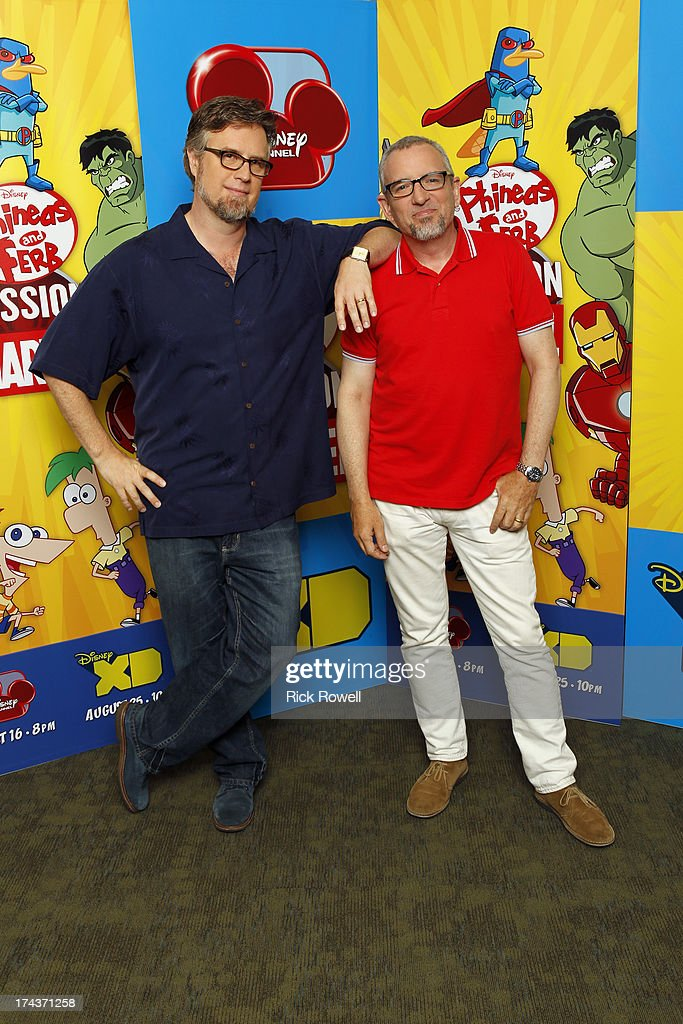 FERB - Press Junket - The 'Phineas and Ferb: Mission Marvel' cast and creative team at the 'Phineas and Ferb: Mission Marvel' press junket in Burbank, California on July 23, 2013. 'Phineas and Ferb: Mission Marvel,' the first ever crossover television special for Marvel and Disney properties premieres Friday, August 16 (8:00 p.m., ET/PT) on Disney Channel. DAN POVENMIRE (CREATOR/EXECUTIVE PRODUCER), JEFF 'SWAMPY' MARSH
