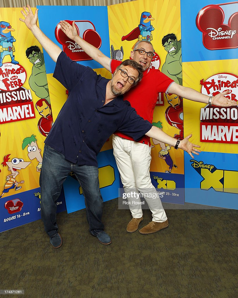 FERB - Press Junket - The 'Phineas and Ferb: Mission Marvel' cast and creative team at the 'Phineas and Ferb: Mission Marvel' press junket in Burbank, California on July 23, 2013. 'Phineas and Ferb: Mission Marvel,' the first ever crossover television special for Marvel and Disney properties premieres Friday, August 16 (8:00 p.m., ET/PT) on Disney Channel. , JEFF 'SWAMPY' MARSH