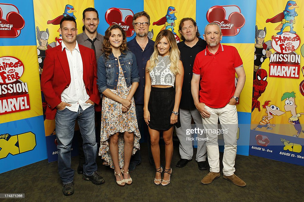FERB - Press Junket - The 'Phineas and Ferb: Mission Marvel' cast and creative team at the 'Phineas and Ferb: Mission Marvel' press junket in Burbank, California on July 23, 2013. 'Phineas and Ferb: Mission Marvel,' the first ever crossover television special for Marvel and Disney properties premieres Friday, August 16 (8:00 p.m., ET/PT) on Disney Channel. ADRIAN PASDAR, TRAVIS WILLINGHAM, ALYSON STONER, DAN POVENMIRE (CREATOR/EXECUTIVE PRODUCER), ASHLEY TISDALE, FRED TATASCIORE, JEFF 'SWAMPY' MARSH