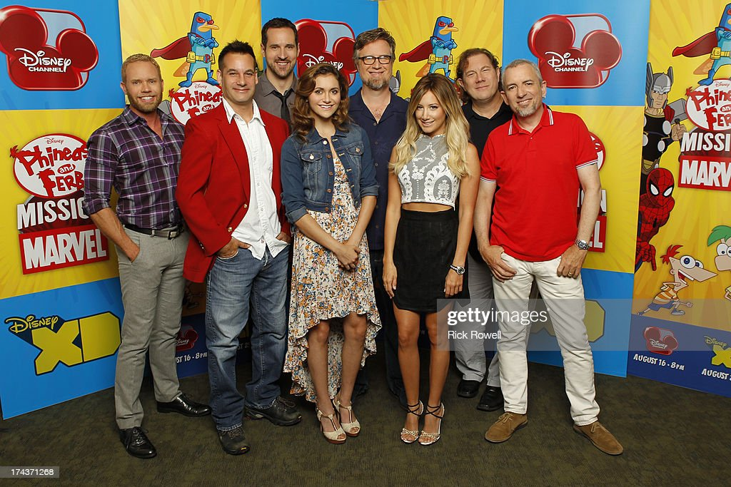FERB - Press Junket - The 'Phineas and Ferb: Mission Marvel' cast and creative team at the 'Phineas and Ferb: Mission Marvel' press junket in Burbank, California on July 23, 2013. 'Phineas and Ferb: Mission Marvel,' the first ever crossover television special for Marvel and Disney properties premieres Friday, August 16 (8:00 p.m., ET/PT) on Disney Channel. CORT LANE (VP, ANIMATION DEVELOPMENT & PRODUCTION, MARVEL TELEVISION), ADRIAN PASDAR, TRAVIS WILLINGHAM, ALYSON STONER, DAN POVENMIRE (CREATOR/EXECUTIVE PRODUCER), ASHLEY TISDALE, FRED TATASCIORE, JEFF 'SWAMPY' MARSH