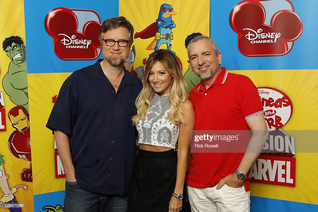 FERB - Press Junket - The 'Phineas and Ferb: Mission Marvel' cast and creative team at the 'Phineas and Ferb: Mission Marvel' press junket in Burbank, California on July 23, 2013. 'Phineas and Ferb: Mission Marvel,' the first ever crossover television special for Marvel and Disney properties premieres Friday, August 16 (8:00 p.m., ET/PT) on Disney Channel. , ASHLEY TISDALE, JEFF 'SWAMPY' MARSH