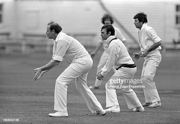 Press Match England v Australia on the rest day of the Headingley Test 1977 Kerry Packer David Frith and Ian Chappell field in the slips