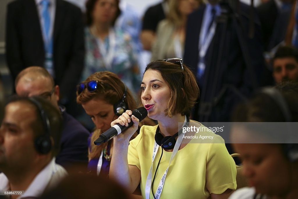 Press member asks a question during a press conference within the Midterm Review of the Istanbul Programme of Action in Antalya, Turkey on May 27, 2016. The Midterm Review conference for the Istanbul Programme of Action for the Least Developed Countries takes place in Antalya, Turkey from 27-29 May 2016. The conference will undertake a comprehensive review of the implementation of the Istanbul Programme of Action by the least developed countries (LDCs) and their development partners and likewise reaffirm the global commitment to address the special needs of the LDCs.
