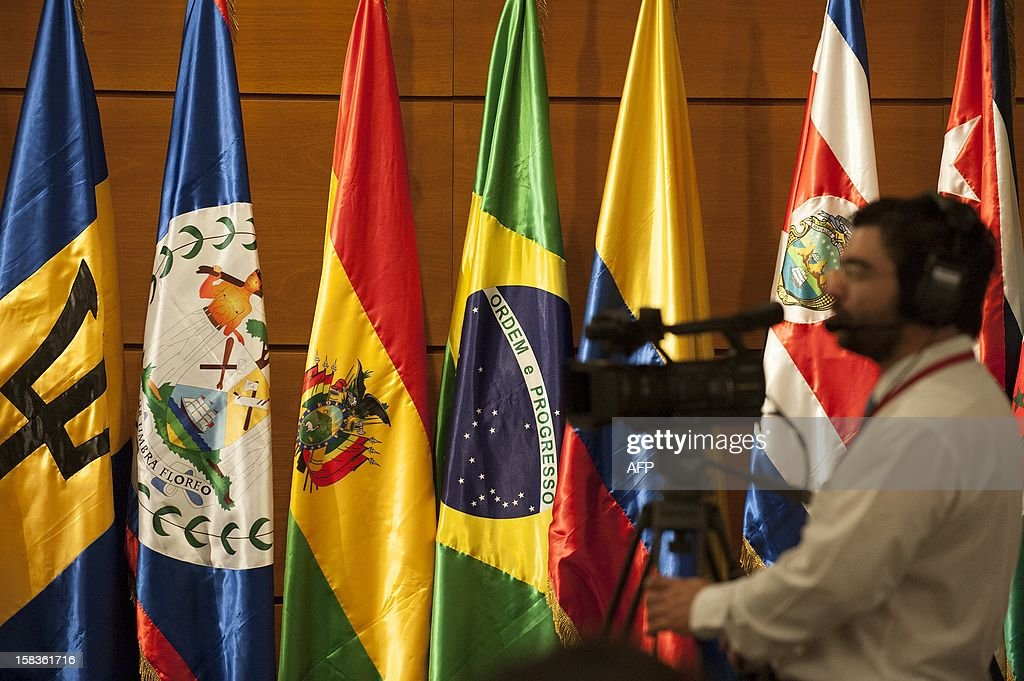 A press member is seen during the opening of the Community of Latin American and Caribbean States (CELAC) summit on December 14, 2012 in Valparaiso, Chile. AFP PHOTO / Claudio SANTANA