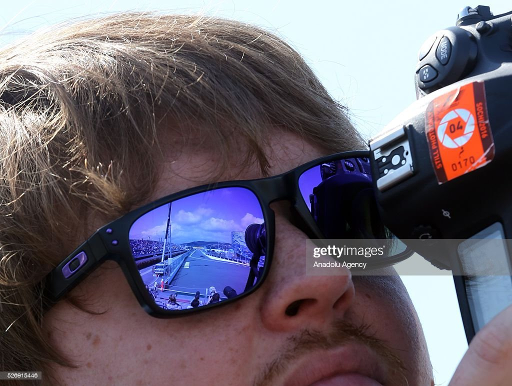 A press member is seen on duty during the Formula One Grand Prix of Russia at Sochi Autodrom in Sochi, Russia on May 01, 2016.