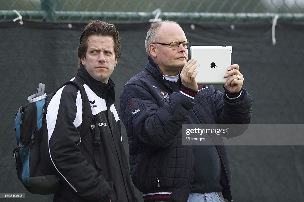 press officer Edwin van Lenthe of Heracles Almelo, journalist Ronald van der Geer with an iPad during the match between Heracles Almelo and RSC Anderlecht on January 11, 2013 at Belek, Turkey.