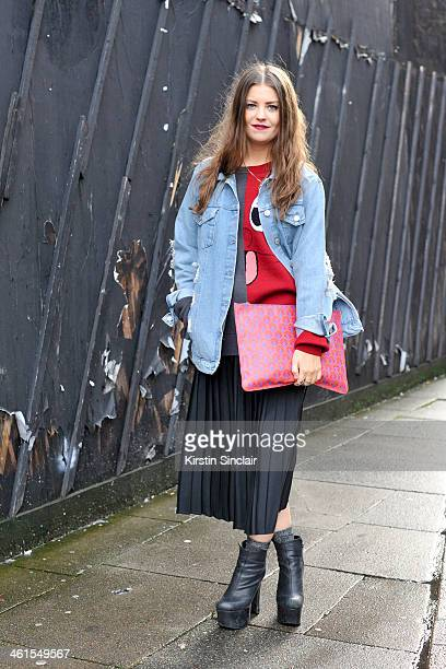 Press officer for Liberty Sophie Pate wears a Top Shop jacket vintage skirt Liberty clutch bag Deena and Aussie shoes and a Christopher Shannon top...