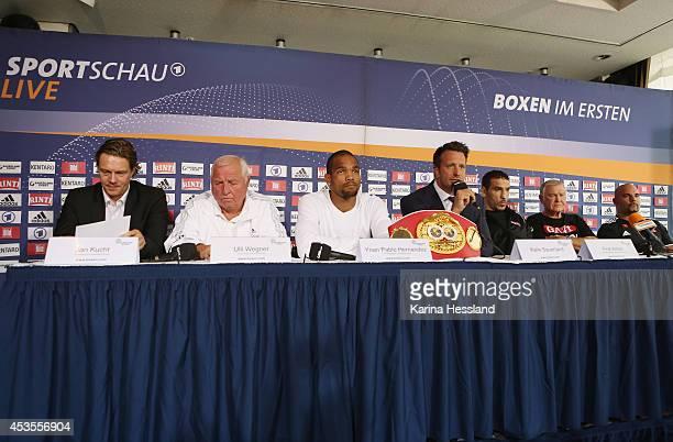press officer Jan Kucht Coach Ulli Wegner Yoan Pablo Hernandez Kalle Sauerland Firat Arslan Coach Fritz Sdunek and Coach Dieter Wittmann during the...