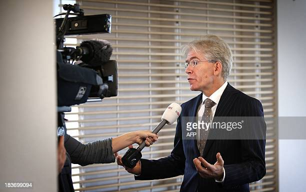 Press Officer Pieter van Rest of the North Netherlands region speaks to te press in Groningen The Netherlands on October 9 about the arrest of Frank...