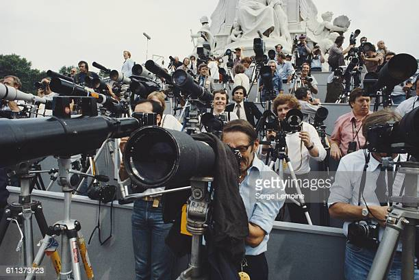 Press photographers outside Buckingham Palace in London for the wedding of Charles Prince of Wales and Lady Diana Spencer 29th July 1981