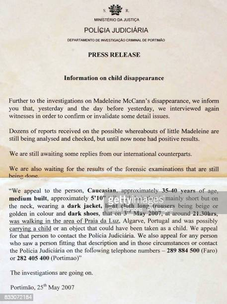 A press release in english from the Portuguese police where there was discrepancy between the english translation of the description of the man...