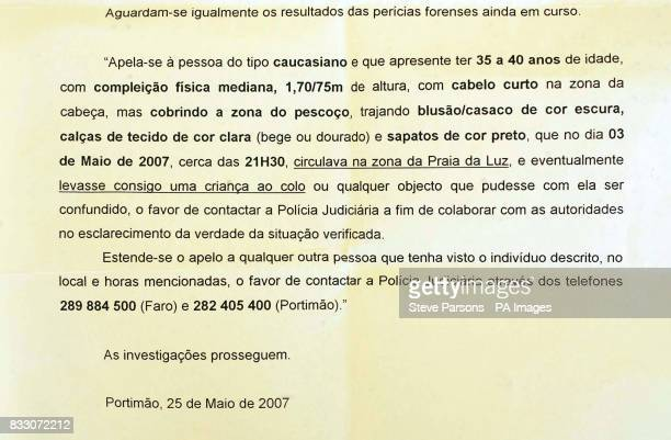 A press release in portugese from the Portuguese police where there was discrepancy between the english translation of the description of the man...