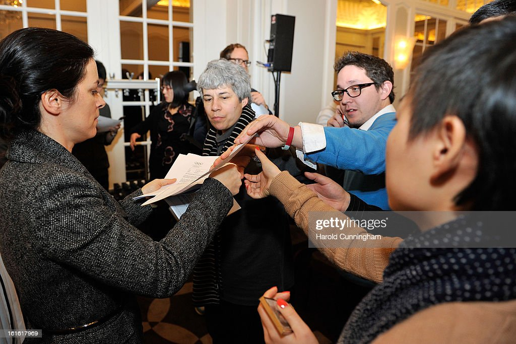 A press release is handed out during the International Olympic Committee (IOC) Executive board meeting at the Lausanne Palace Hotel on February 12, 2013 in Lausanne, Switzerland. The two day board meeting is taking place to ensure the relevance of the Games.