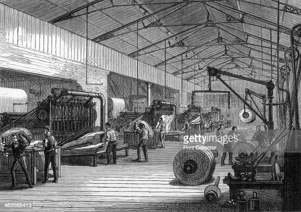 Press room offices of the Daily Telegraph Fleet Street London 1882 Printing presses and rolls of newsprint A print from the Illustrated London News
