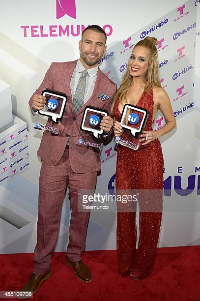 Rafael Amaya and Carmen Aub backstage during the 2015 Premios Tu Mundo from the American Airlines Arena in Miami Florida on August 20 2015 PREMIOS TU...
