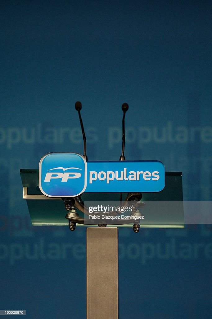 Press room's lectern remains empty while Mariano Rajoy's gives a conference in the PP Headquarters during the PP national executive comitee on February 2, 2013 in Madrid, Spain. Spanish reports alleged Rajoy and other conservative politicians received regular payments from a previously undisclosed account run by the treasurers of his Popular Party from 1990 to 2008.