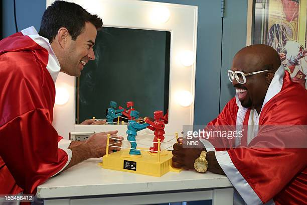 Universal City Calf Carson Daly and CeeLo Green celebrate 'Rocktober' and the start of the battle rounds on October 8 with a 'rockem sockem robot'...