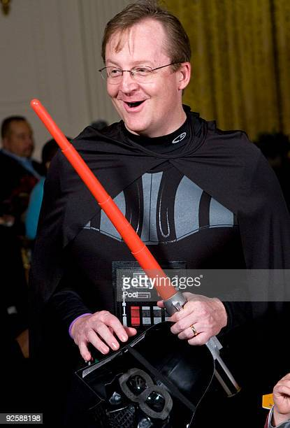 Press Secretary Robert Gibbs dressed as Darth Vader in the east room greets parents trickortreaters and local school children at the White House...