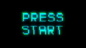 Press start text with bad signal. Glitch effect. 3d rendering