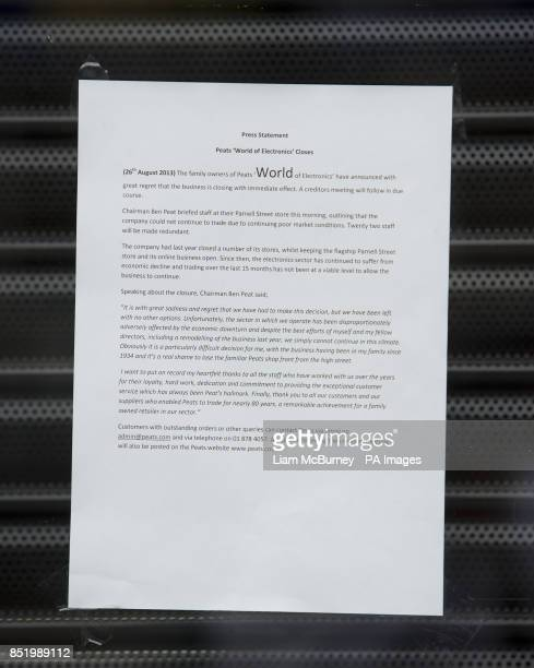 A press statement on the shutter of Peats World of Electronics in Parnell Street store Dublin One of Ireland's bestknown electronics retailers which...
