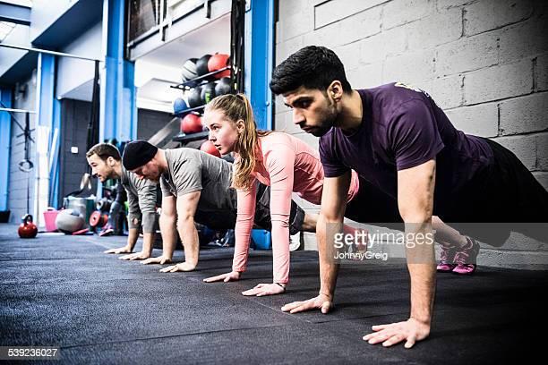 Press ups at the gym