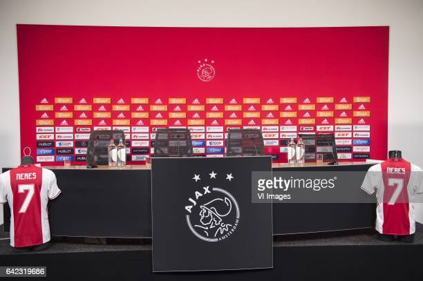 pressconference David Neres of Ajaxduring the press presentation of David Neres at the Amsterdam Arena on February 17 2017 in Amsterdam The...