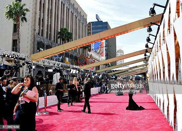 Press/media prepare on the red carpet during the 88th Annual Academy Awards at Hollywood Highland Center on February 28 2016 in Hollywood California
