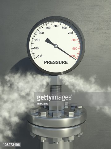 Pressure gauge on full with releasing steam